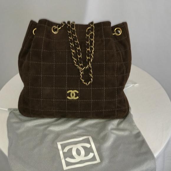 CHANEL Handbags - Vintage Chanel Small Brown Suede Tote Bag